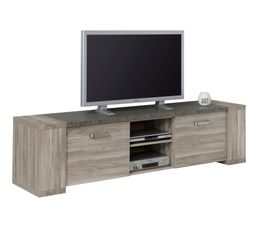 Meuble TV L.204 cm STONE Chêne gris