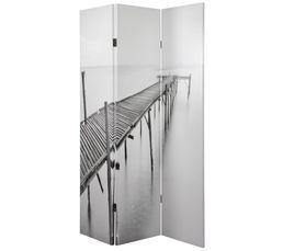 Un paravent qui emmenera un peu de NATURE. Créez une véritable séparation d'espace dans votre pièce. Structure : pin. Toile : canvas. Finition : Coloris blanc/noir. Dimensions en cm : Paravent fermé : L. 40 - l. 2,50 - H. 180 cm. Paravent ouvert : L. 120
