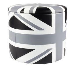 BRITISH Pouf noir/blanc
