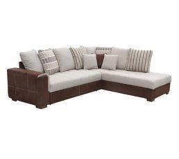 Canapé d'angle méridienne droite DODGE tissu marron beige