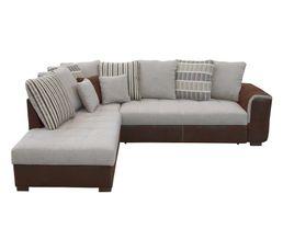 Canapé d'angle méridienne gauche DODGE tissu marron beige