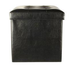 Pouf L. 38 - l. 38 - H. 38 cm POUF PLIABLE Noir