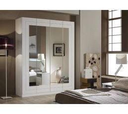 Armoire 4 portes ALASKA blanc - Dressings BUT