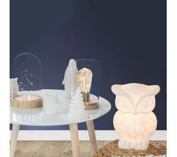 Lampe A Poser Hibou 2 Blanc Lampes A Poser But