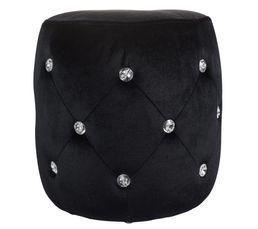 Donnez une touche d'élégance à votre pièce avec ce pouf capitonné, et incrusté de petits diamants en plastiques du plus bel effet Structure : 100% polyester, carton, panneaux de fibres de moyenne densité. Diamants en plastique. 3 pieds ronds en plastique