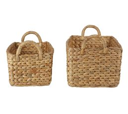 Set de 2 paniers rectangle JACINTHE Naturel