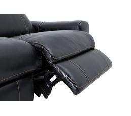 Canapé 3 places 2 relax élect. TIVOLI Cuir/croûte Noir