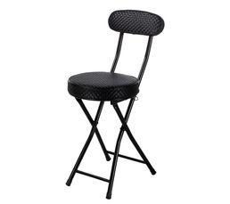 Chaise pliante tressée  Noir