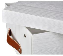 boite rangement imitation bois COPENHAGUE blanc