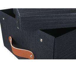 boite rangement imitation bois COPENHAGUE Noir