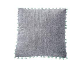 Coussin Pompons 40x40 cm MONTREAL Gris/vert