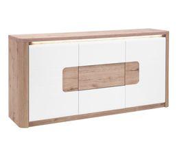 BELLINI Buffet 2 portes/3 tiroirs Chêne/blanc