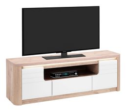 Meuble TV L.150 cm BELLINI Chêne/blanc