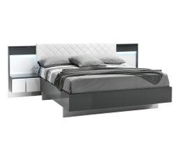 Lit 140x190 cm avec chevets URBINO intégrés gris/blanc