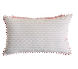 POMPONS Coussin 30 x 50 cm Rose