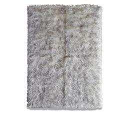 Tapis 120x170 cm SLED Imitation fourrure Gris/ Blanc