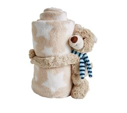 OURSON Peluche + plaid Bleu