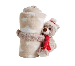 OURSON Peluche + plaid Rouge