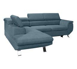 Canapé d'angle convertible méridienne gauche PHOENIX tissu Alfa bleu