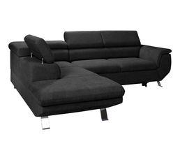 Canapé d'angle convertible méridienne gauche PHOENIX tissu Alfa noir