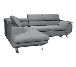 Canapé d'angle convertible méridienne gauche PHOENIX tissu chiné Monet gris