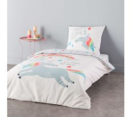 housse de couette enfant 140x200 cm 1 taie d 39 oreiller licorne linge de lit but. Black Bedroom Furniture Sets. Home Design Ideas