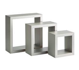 set de 3 cubes muraux h 25 cm clara alu