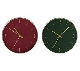 De Haute Qualite Horloge ø 30 Cm CLARA Vert Ou Bordeaux