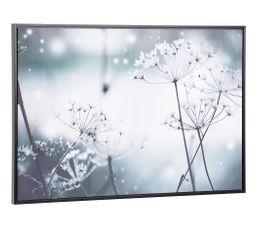 Toile encadrée 100x70 cm FLOWERS Noir et blanc