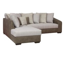 Canapé d'angle 4 places Marron Tissu Contemporain Confort