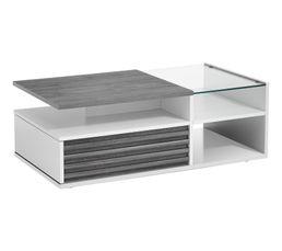Table basse VERTIGO blanc/chêne gris