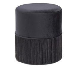 Pouf ø 35 cm CLEMENCE Noir