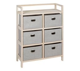 Commode 6 tiroirs LANA naturel/gris