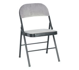 Chaise pliante velour Soren gris