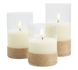 Lot de 3 bougies cire LED  blanc
