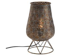Lampe ajourée H.37,5 cm DELHI doré antique