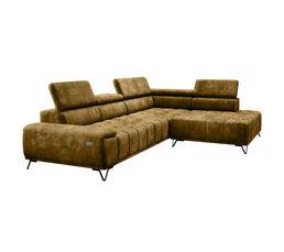 Canapé d'angle 2 places Noir Tissu Relax