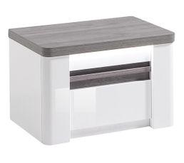 Chevet VERTIGO blanc et imitation chêne gris