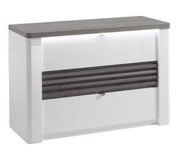 Commode 3 tiroirs L.110 cm VERTIGO blanc et imitation chêne gris