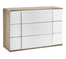 Commode 3 tiroirs URBINO imitation chêne/blanc