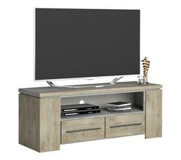 Meuble TV 2 tiroirs NORTON imitation bois et béton