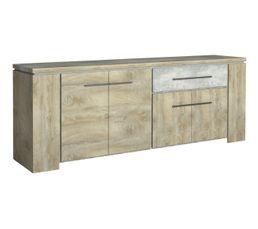 Buffet 4 portes/1 tiroir NORTON imitation bois et béton