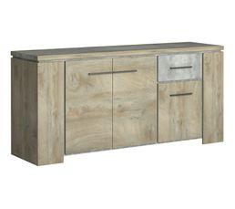 Buffet 3 portes/1 tiroir NORTON imitation bois et béton