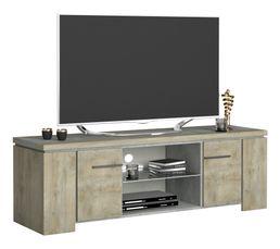 Meuble TV 2 portes NORTON imitation bois et béton