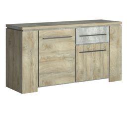 Buffet 2 portes/ 1 tiroir NORTON imitation bois et béton