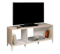 Meuble TV KEO acacia/blanc