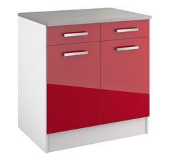 Bas 80 cm 2 portes 2 tiroirs ELIBOX 243414 / Rouge brillant