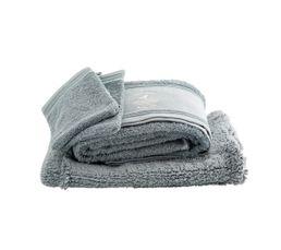 Lot serviette de bain + gants + tapis de bain bleu clair BALEINEO