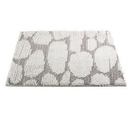 motif galets gris et blanc Tapis de salle de bain 50x80 GALETS