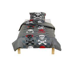 housse de couette 1 personne rouge et gris 140x200 cm skull funny linge de lit but. Black Bedroom Furniture Sets. Home Design Ideas